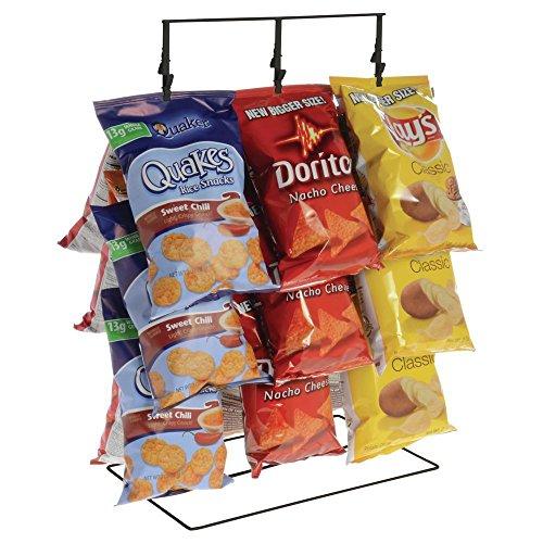Potato Chip Rack - 3 Rows, 36 Clips, Black, 14 1/2