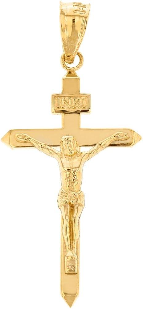 "Solid 10k Yellow Gold Catholic Jesus Christ on INRI Cross Crucifix Pendant (1.6"")"