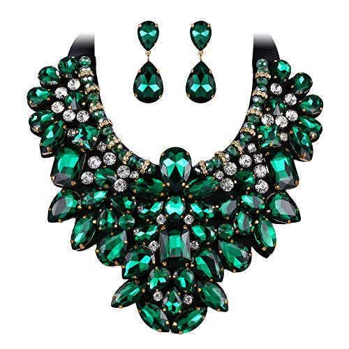 Flyonce 8 Colors Women's Stunning Crystal Costume Statement Necklace Earrings Set for Banquet, Prom Green ()