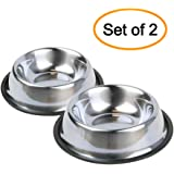 Nuheby Stainless Steel Cat Bowls Dog Dish Pet Food Feeder Water Bowl Non Slip Rubber Base for Cats Kitty Small Dogs, Set of 2