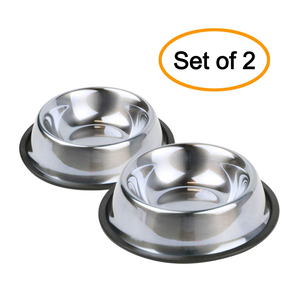 Nuheby Stainless Steel Cat Bowls Dog Dish Pet Food Feeder Water Bowl Non Slip Rubber Base for Cats Kitty Small Dogs Set of 2