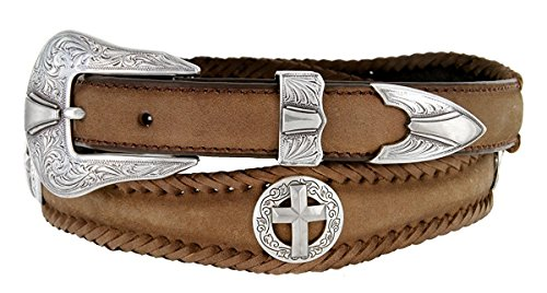 Hagora Men Oil Tanned Harness Leather Hand Laced Edge Cross Conchos Buckle Belt,Brown (3 Piece Leather Concho Belt)