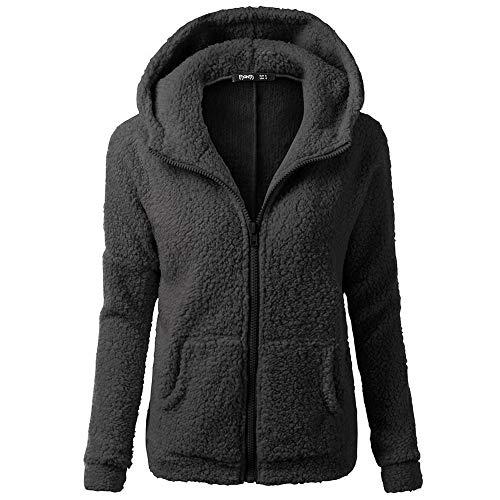 HGWXX7 Women's Hoodie Solid Winter Warm Plus Size Cotton Zipper Coat Tops Blouse Sweatshirt Outwear(S,Black)
