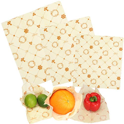 Sumi Eco Organic Reusable Beeswax Food Wrap - Great For Storing Sandwiches And Vegetables | Bees Wrap Paper Sustainable Food Storage | 3 Pack (2. Honeycomb Print 3pack, 1 Small, 1 Medium, 1 Large)