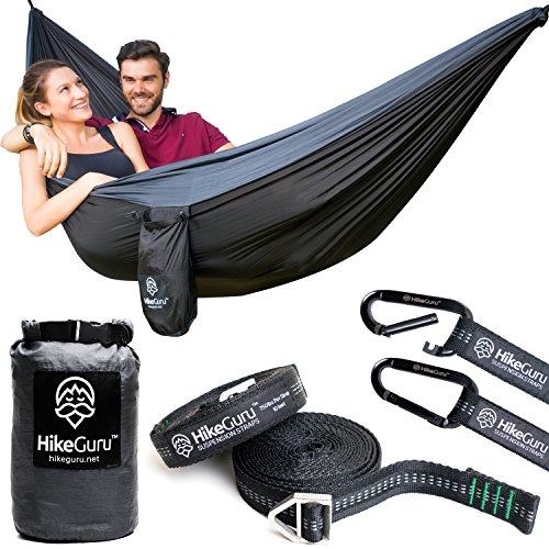 Tree Straps and Carabiners - by HikeGuru w/ Real Tree Straps| Metallic Buckle System| RISK-FREE 365 DAYS| Lightweight 2.2| Unique Bag Design (Camping Hammock)