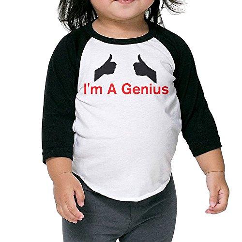 ALIPAPA Kids Boy's & Girl's I'm A Genius 3/4 Sleeve Baseball T Shirt Size 2 Toddler