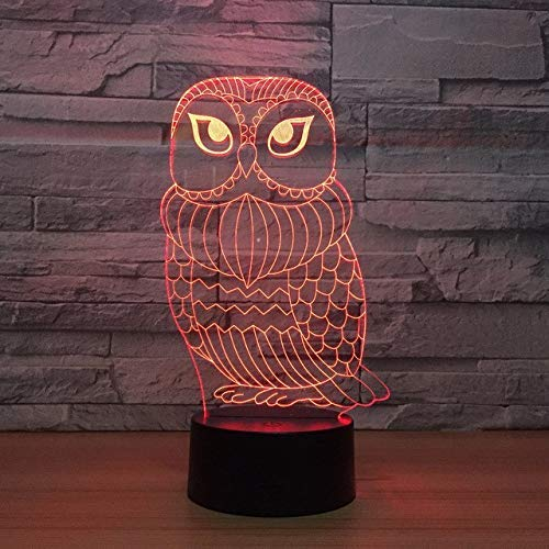 OVIIVO Creative Table Lamp Desk Lamp 3D Lamp Cute Owl 7 Color Led Night Lamps for Kid Touch Led USB Table Lampara Baby Sleeping Nightlight Led with Sensor Using for Reading, Working by OVIIVO (Image #4)