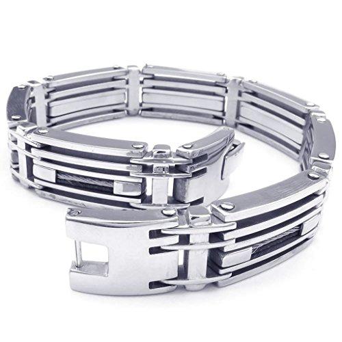 Epinki Stainless Steel Bracelet, Mens Biker Link Bracelet Silver Length 9 (Diy 80s Costume Pinterest)