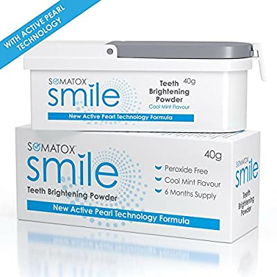 SOMATOX SMILE - Teeth Brightening Powder - With Active Pearl Technology • Peroxide Free Whitening Kit • Better than Whitening Strips & Gel - 6 Months Supply | Cool Mint ? Product of UK