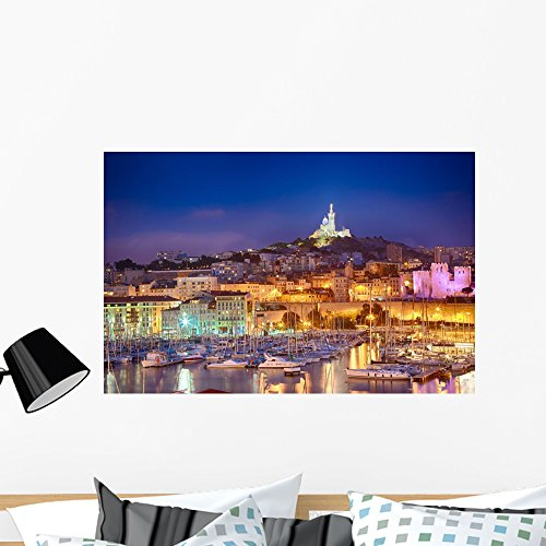 Vieux Port - Wallmonkeys Marseille France Vieux Port Wall Mural Peel and Stick Graphic (36 in W x 23 in H) WM362364