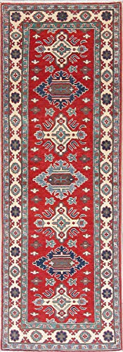 Rug Source New One-of-a-Kind Pakistani Kazak Wool Traditional Oriental 3x8 Runner Rug Handmade Red (7' 11