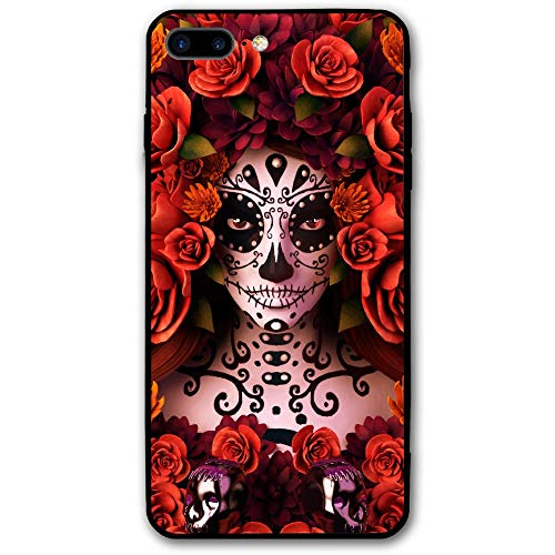 (SRuhqu Sugar Skulls And Roses Day Of Dead Halloween Slim Fit Shockproof Anti-Scratch Bumper Soft PC Back Premium Hybrid Protective Case For IPhone 8)