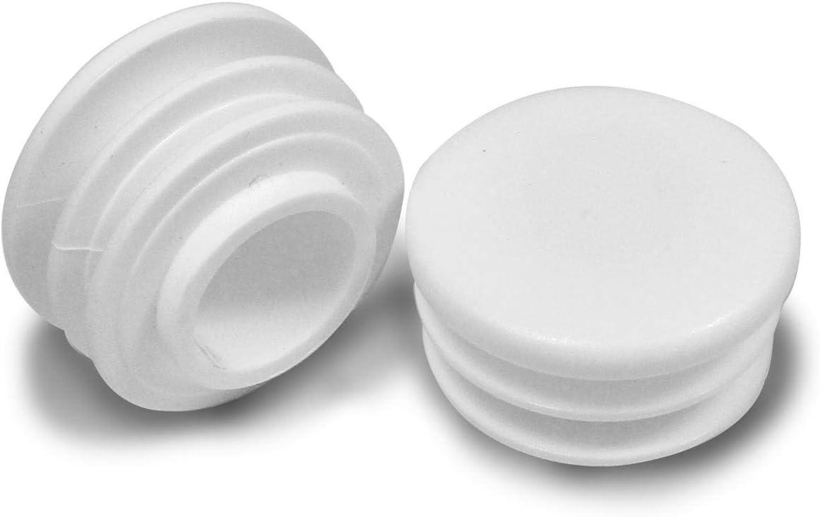 Contera redonda acanalada para tubos BLANCA EPR225-M ajile 4 piezas di/ámetro 25 mm