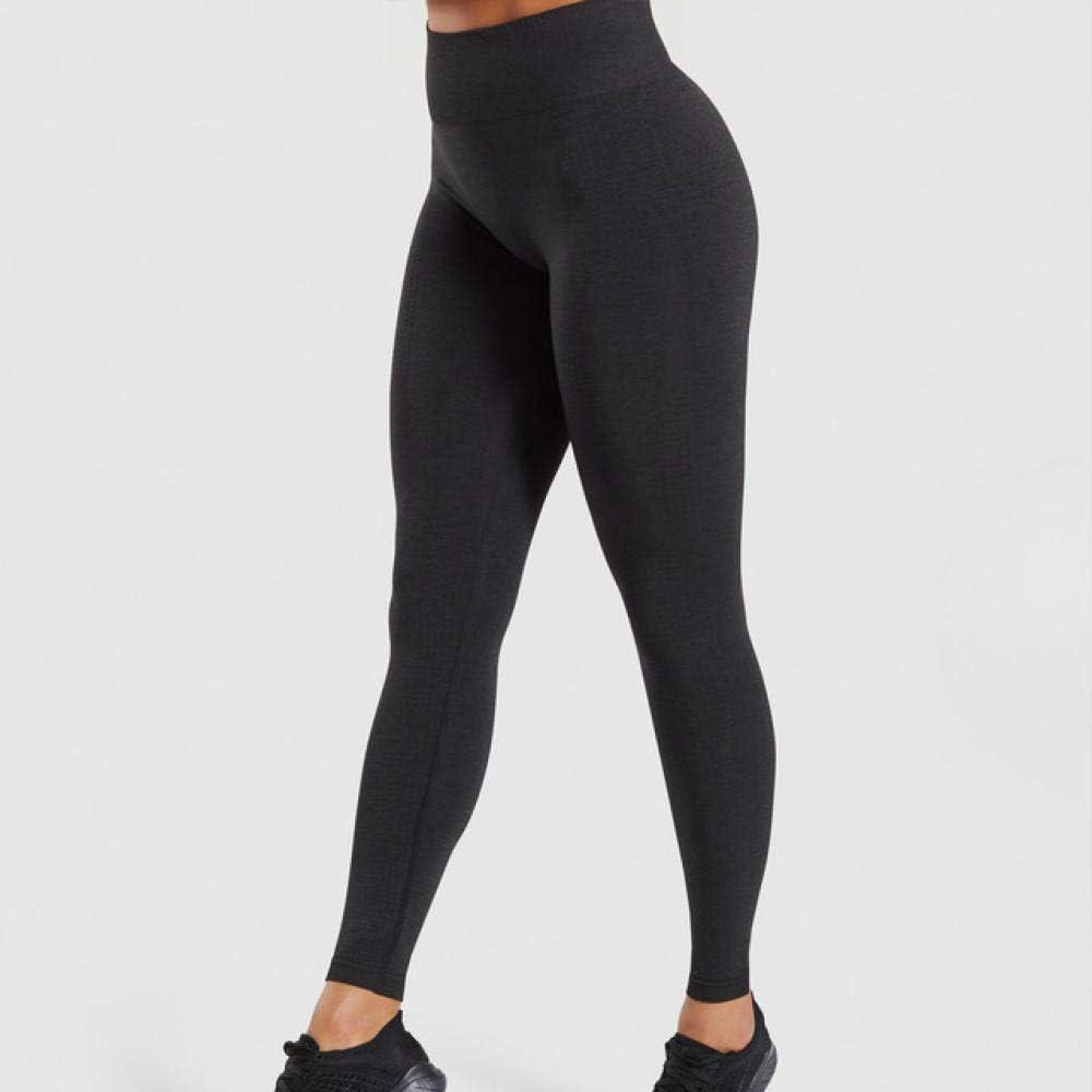 B/H Leggings Mujer, no transparenta,Leggings sin Costuras para Mujer, pantalón de Yoga elástico de Nueve Puntos-Negro_M