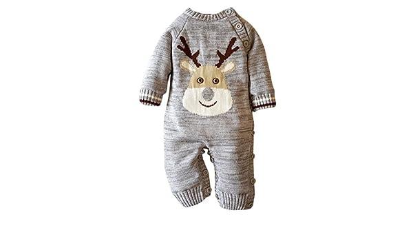 SUNBIBE Cute 0-2 Years old Baby Warm Rompers Newborn Boys Girls Christmas Sweater Deer Plush Hooded Outwear