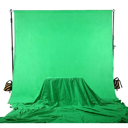 Professional Video Production Equipment - Square Perfect 4037 Professional Quality 10 x 13 Feet Chromakey Green Screen Muslin Backdrop for Photography and Video