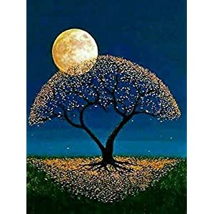 Diamond Painting Kits for Adults, Diamond Painting Full Drill Moon Tree, Perfect Gift for Families Friends, Cross Stitch DIY Craft - 12 x 16 inch