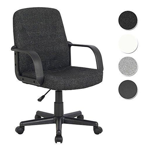 SixBros. Bürostuhl Drehstuhl Schreibtischstuhl Stoff Schwarz - H-8365L-2/2169