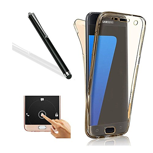 Galaxy S6 Edge Plus Case,Samsung S6 Edge Plus TPU Cover,Leeook Ultra Thin Transparent Clear Gold Design Shockproof Cover Soft TPU Silicone Slim Fit Scratch Resistant Front and Back Full Body 360 Degree Protection Gel Bumper Case for Samsung Galaxy S6 Edge Plus + 1 x Free Black Stylus