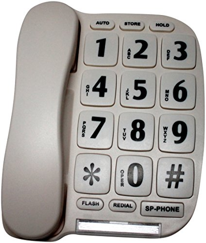 Geriatric Large Button Telephone with Speaker Phone and Voice Amplification P-581 (Home Phones Cordless Big Numbers)