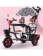 Trike Kids Bike Brisk Double Children's Tricycle Twin Trolley with 3 Wheels Pedal Bicycle for 1-6 Years Old Two-Seater Cart Removable Push Handle (Color : Black)