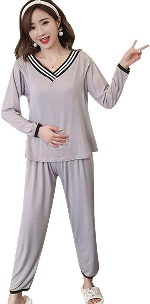DAZISEN Mujeres Pijama de Lactancia Invierno Ropa - Suave Un Juego de Camisas de Algodón con Cuello en V Sueltas Tops + Pantalones Pijamas de Lactancia para Mujeres Embarazadas para Amamantar: Amazon.es: