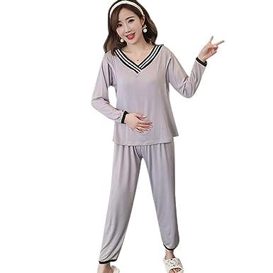 ccacfc70189ee BOZEVON Pyjamas d allaitement pour Femmes - Un Ensemble de Coton  Décontracté à Col en V Tops + Pantalons Amples Femme Pyjama d allaitement  Maternité ...