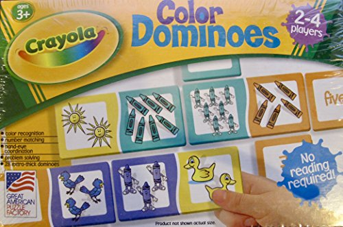 CRAYOLA Games COLOR DOMINOES Game w 28 EXTRA Thick Dominoes (2000 Made in USA) by Crayola