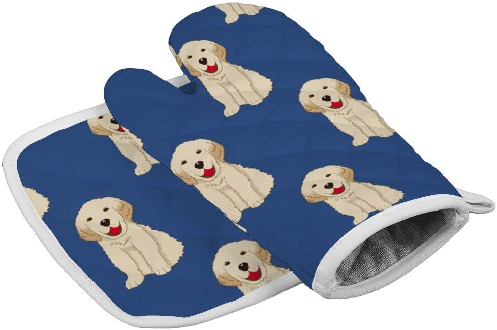 July-Seven Labrador Golden Retriever Dog Pattern Oven Mitts,Professional Heat Resistant Microwave BBQ Oven Insulation Thickening Cotton Gloves Baking Pot Mitts with Soft Inner Lining