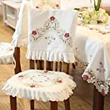 Damask rose camellia embroidered cream floral chair back cover cushion cover set