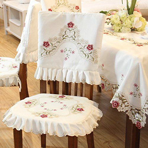 (JH tablecloths Damask Rose Camellia Embroidered Cream Floral Chair Back Cover and Cushion Cover)