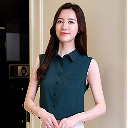 WXIN Camisa De Chifón Sin Mangas Blusa De Chifón De Verano para Mujer Mujeres, L