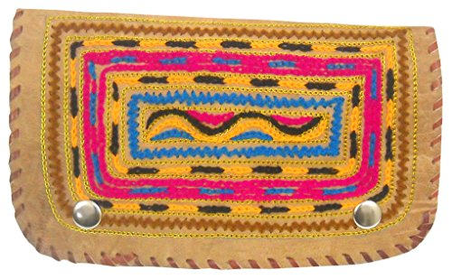 Beautiful Multi Hand Color Camel Leather Ethnic Purse Embroidered Genuine 100 Handmade ZqSPPwxdg