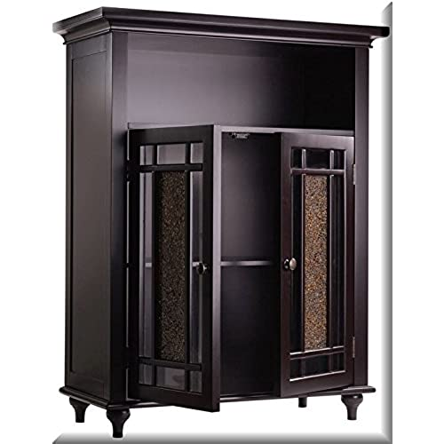 Double Door 3 Shelf Floor Cabinet Is Espresso In Color With A Beautiful Old  Fashion Look. The Amber Glass Brightens Up Any Room In Your Home Or Office