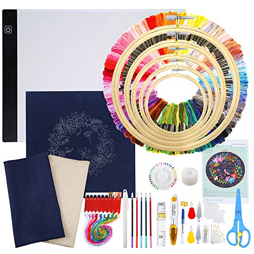 Caydo Full Range of Embroidery Kit with LED Light Box, Instruction, Embroidery Cloth with Pattern, 100 Color Threads and Cross Stitch Tool Kit