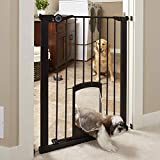 """North States MyPet 38"""" wide 36"""" Tall Petgate Passage: Extra tall secure gate with small lockable pet door. Pressure Mount. Fits 29.8""""-38"""" wide (36"""" tall, Matte Bronze)"""