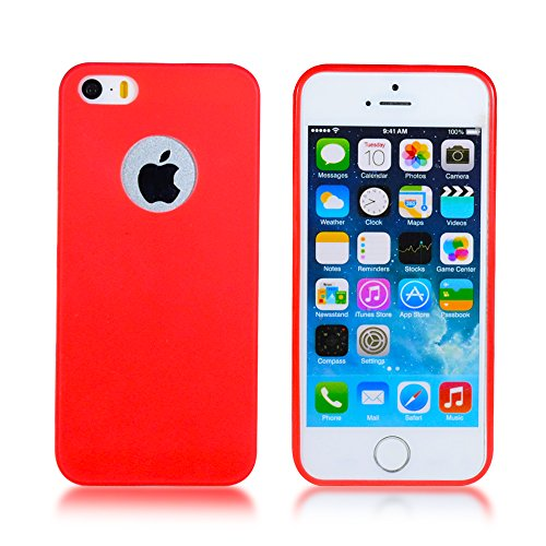 5 Case [Jelly Colorful Series] Ultra Slim Lightweight Classic Design Durable Soft Rubber TPU Silicone Gel New Case Cover for iPhone 5s/5/se - with a HD Protector - red ()