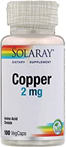 Solaray Copper 2 mg | Healthy Red Blood Cell Formation, Immune and Nerve Function Support | Non-GMO | 100ct