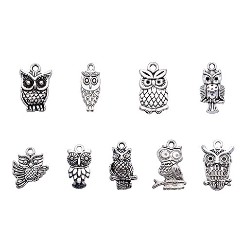 Beadthoven 50pcs Tibetan Style Alloy Owl Pendants Vintage Mixed Shapes Charms for Halloween Jewelry Crafts Making Holiday Home -