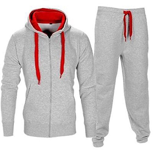 BE JEALOUS Men's Essentials Contrast Fleece Tracksuit Hoodies Bottom Jogger Set Medium Grey/Red by Oops Outlet
