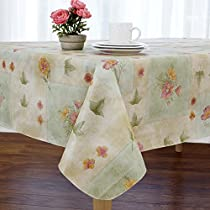 Peony Patch Flannel Backed Indoor Outdoor Vinyl Table Linens, 60-Inch by 84-Inch Oval, Sage