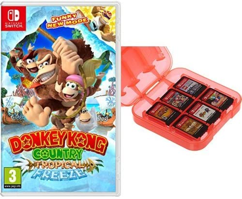 Donkey Kong Country: Tropical Freeze + Funda para almacenamiento de juegos (Rojo) AmazonBasics: Amazon.es: Videojuegos