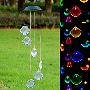 SOLAR COLOR CHANGING LED SHELL WIND CHIMES WITH 1 EXTRA/SPARE BATTERY 2016 NEW