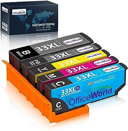 OfficeWorld Cartuchos de tinta Epson 33 33XL para Epson Expression Premium XP-900 XP-540 XP-7100 XP-830 XP-630 XP-530 XP-640 XP-645 XP-635 (Pack de 5) Negro, cian, magenta, Amarillo, Negro Foto: Amazon.es: Oficina y