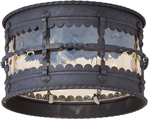 Spanish Ceiling Lighting - Minka Lavery Outdoor Ceiling Lighting 8889-A39, Mallorca Flush Mount, 180 Watts, Iron