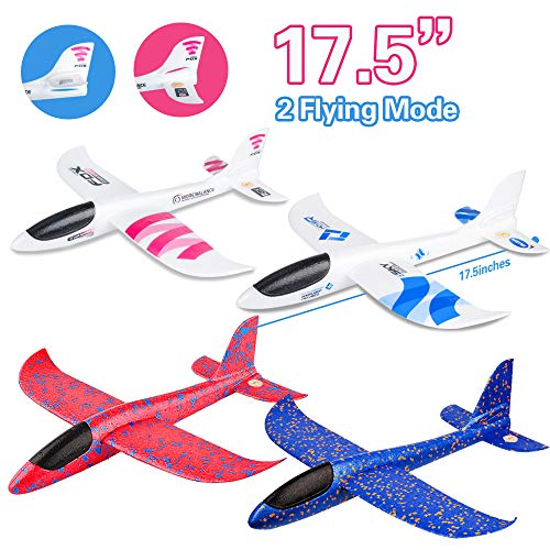 4 Pack Airplane Toy, 17.5″ Large Throwing Foam Plane, Dual Flight Mode, Aeroplane Gliders, Flying Aircraft, Gifts for Kids, 3 4 5 6 7 Year Old Boy,Outdoor Sport Game Toys, Birthday Party Favors