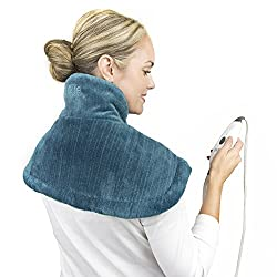 PureRelief Neck & Shoulder Heating Pad with Fast-Heating Technology, Magnetic Closure & Convenient Storage Bag