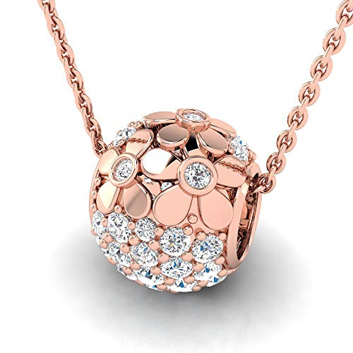 3/4 ctw Floral Design Pave Hollow Bead Sterling Silver Lab Grown Diamond or Lab Created Diamond Pendant for Women. Jewelry Gifts. ()