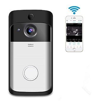 Kefaith Video Timbre inteligente Inalámbrico para el hogar Cámara de seguridad WiFi Chime interior Visión bidireccional