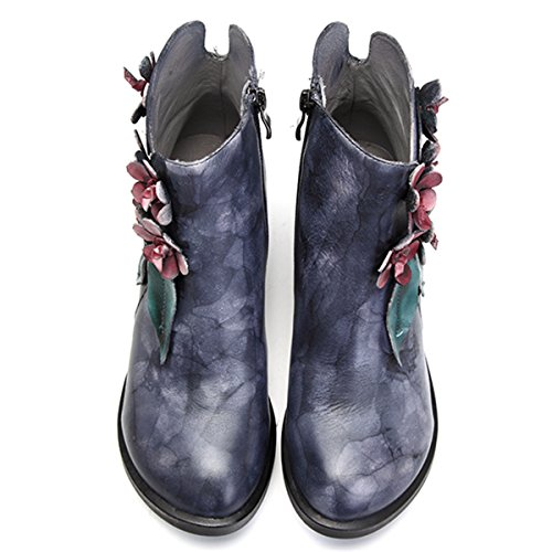 Socofy Leather Ankle Boots, Women's Leather Shoes High-Top Casual Oxford Boots Warm Booties with Handmade Flower Rose Floral Boots Zipper Shoes Navy